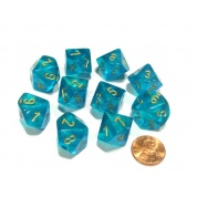 Chessex Borealis Teal/gold Luminary Set of Ten d10s