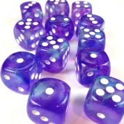 Chessex Borealis 16mm d6 Purple/white Luminary Dice Block (12 dice)