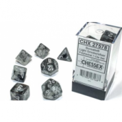 Chessex Borealis 16mm d6 Light Smoke/silver Luminary Dice Block (12 dice)