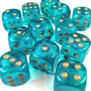 Chessex Borealis 16mm d6 Teal/gold Luminary Dice Block (12 dice)