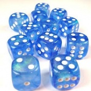 Chessex Borealis 16mm d6 Sky Blue/white LuminaryDice Block (12 dice)