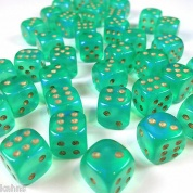 Chessex Borealis 12mm d6 Light Green/gold Luminary Dice Block (36 dice)