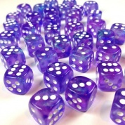 Chessex Borealis 12mm d6 Purple/white Luminary Dice Block (36 dice)