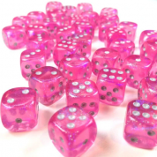 Chessex Borealis 12mm d6 Pink/silver Luminary Dice Block (36 dice)