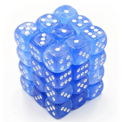 Chessex Borealis 12mm d6 Sky Blue/white Luminary Dice Block (36 dice)
