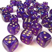 Chessex Borealis 12mm d6 Royal Purple/gold Luminary Dice Block (36 dice)