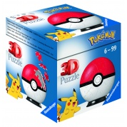 Ravensburger 3D Puzzle-Ball - Pokémon Pokéballs - Pokéball Classic 54pc - DE/NL/SP/FR/IT/EN