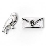 Harry Potter - Hedwig & letter silver plated stud
