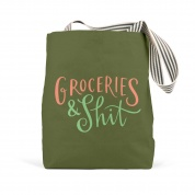Em & Friends Groceries & Shit (Olive) Tote Bag