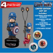 Captain America Civil War - Captain America Solar Powered Body Knocker 15cm Limited Edition Gift Set incl. Earbugs Scalers & Hubsnaps